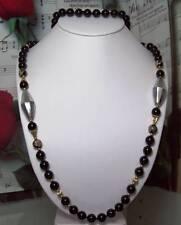 Black Onyx With 14k Gold Beaded Necklace.BON021