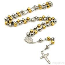 XL Rosario Collar acero inoxidable oro plata brillo alto oración Cruz Jesús