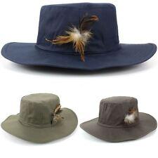Hat Bush Army Fishing Cap Boonie Safari Outdoor Outback BRIM FEATHER Hawkins