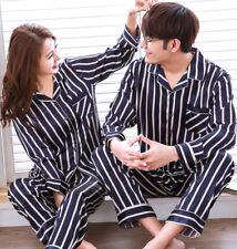 2PC/Set Men Women Satin Silk Pajamas Pyjamas Sleepwear Loungewear Nightgown Gift