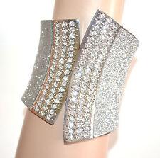 BRACCIALE donna argento rigido strass schiava brillantini cristalli bracelet A72