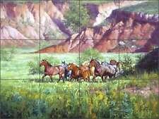 Tile Mural Backsplash Ceramic Sorenson Canyon Western Horse Art RW-JS006