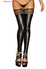 SEXY calze AUTOREGGENTI nere WETLOOK Pizzo Silicone intimo Lingerie Fashion GLAM