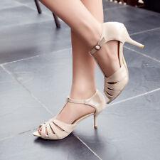 Fashion Women's T-strap Kitten Heels Peep Toe Ladies Sandals Ankle Buckle Shoes