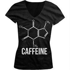 Caffeine Molecule Nerd Geek Coffee Addict Funny Humor Juniors V-neck T-shirt