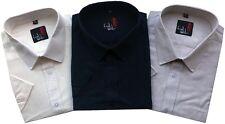 Mens Linen Short Sleeve Regular Fit Shirts Work Formal Causal M To 5XL