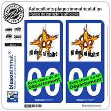 2 Stickers autocollant plaque immatriculation Auto : Anarchie Ni dieu, ni maître