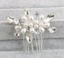 Crystal Hair Comb Pearls Bridal Dress Accessories Rhinestone Wedding Headpiece