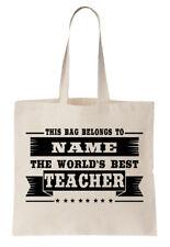 Personalizado Bolsa Shopper del mundo mejor Teacher Escuela PRIMARIO Nombre
