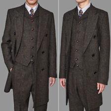 Men's Coffee Colorful Herringbone Vintage Long Vested Suits 3pcs Peaky Blinder+