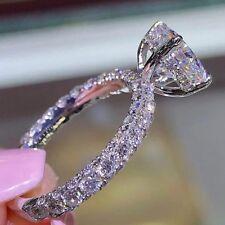 Simple Women Jewelry Silver White Sapphire Birthstone Ring Wedding Bridal Sz6-10