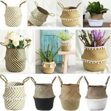 Foldable Handmade Storage Wicker Basket Flower Planter Pot Art Home Garden Decor