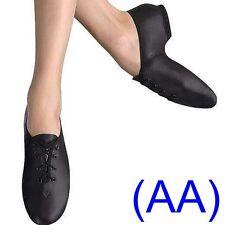 JAZZ DANCE SHOES Black Leather split rubber suede sole pumps irish hard jig (AA)