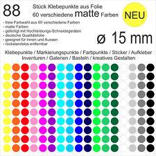 88 Stück Klebepunkte aus Folie matt rund 15mm Aufkleber Sticker Inventur NEU