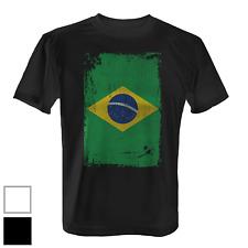 Brasilien Flagge längs Herren T-Shirt Fun Shirt Fahne Banner Vintage Grunge Neu