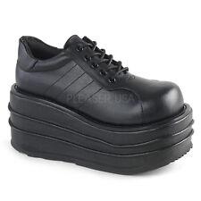 Demonia TEMPO-08 Men's Black Vegan Leather Wedge Platform Lace-Up Oxford Shoes