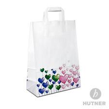 HUTNER Papiertüten Motiv Herzen, Papiertragetaschen bedruckt Papiertaschen weiss