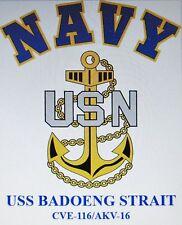 USS BADOENG STRAIT  CVE-116/AKV-16* ESCORT CARRIER U.S NAVY W/ ANCHOR* SHIRT