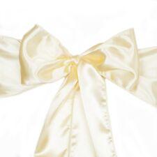 Lot of 10 Satin  Chair Sash Bow Ribbon Wedding Butter Yellow