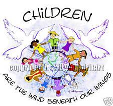 Children Wind Wings World Teacher Peace Doves T-Shirt