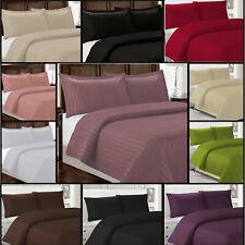 Satin Stripe Quilt Duvet Cover Pillowcase Bedding Case Set For Single Double Bed