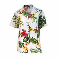 Puanani Womens Flowers and Monstera Authentic Hawaiian Shirt