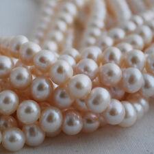 """16"""" Strand naturelles d'eau douce perles rondes blanc 5 - 9 mm Grade Bon état"""