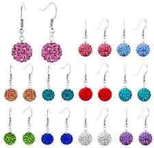 30 pair/lot 10mm mixed white hotsale ball beads drop crystal shamballa earring