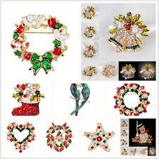 Crystal Rhinestone Brooch Christmas Santa Claus Pin Tree Party Jewelry Decor tou