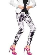 HUE U16190H Black/White Floral Stretch Luster Twill Skimmer Leggings - MSRP $48