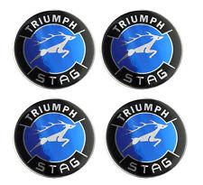 Triumph Stag Blue Logo Self Adhesive Set of 4 Gel Wheel Centres