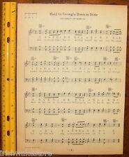 "UNIVERSITY OF GEORGIA Song Sheet 1929 ""Hail to Georgia Down in Dixie"" - Original"