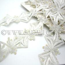 WHITE BUGLE BEAD LACE  RHINESTONE BEADED TRIM, edging,trim,sequins,beads