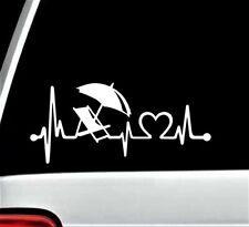 Beach Chair Umbrella Heartbeat Decal Sticker for Car Window | 8 Inch | BG 369