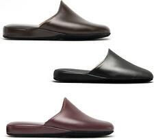 Chaleur LUCA Mens Italian Soft Leather Handmade Cushioned Slip On Mule Slippers