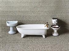 Vtg Dollhouse Miniatures Porcelain Bath Room Set Tub Toilet Sink Japan Set of 3