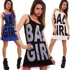 Vestito donna miniabito abito corto canotta strass catene bad girl nuovo T5432