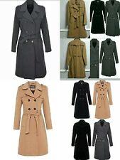 Women's Ladies New Winter Warm Wool Cashmere Double Breast Belt Coat 107cm Long