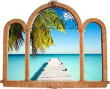 Palm Tree Beach 3D Ancient Window View Decal WALL STICKER Home Decor Art Mural