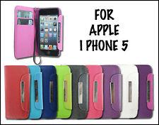 NEW CARD HOLDER FLIP SIDE WALLET MOBILE PHONE CASE COVER FOR APPLE I PHONE 5