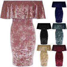 Damen Pannesamt Schulterfrei Bardot Rüschen Top Party Bodycon Kleid