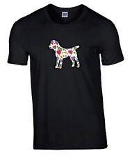 Border Terrier Hearts Design Tshirt Black T-shirt, Crew Neck Dog Tee Shirt