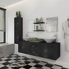 Ensemble de meuble mobilier de salle de bain et lavabo vasque Noir / Beige