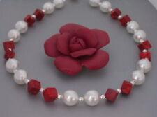 Korallen Perlen Kette Collier Halskette weiß Damen echt Silber Würfel rote