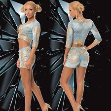 Damen Jeans Kombi Set 2-Teiler Jacke Hose gold Clubwear Hotpants  34-40 #O15