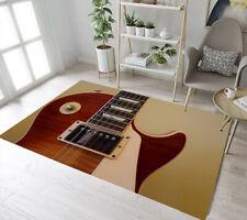 Khaki Background Guitar Pattern Area Rugs Bedroom Carpet Living Room Floor Mat
