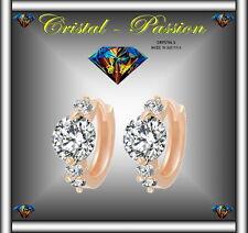 """Sublime Boucle d'oreille Créole cristal autrichien """" Diamant """" doré à l'or fin"""