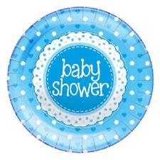 Baby Shower Blue Hearts Party Plates 23cm Paper 1-48PK   Celebrate New Born Boy