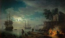 Claude Vernet - Seaport by Moonlight Vintage Fine Art Print
