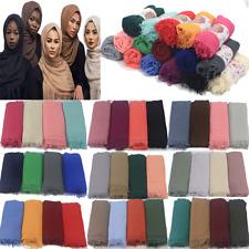 90*180CM Cotton Blend Viscose Maxi Crinkle Hijab Scarf Scarves Muslim Shawls New